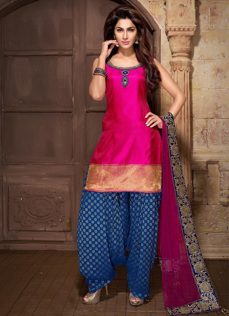Pink N Blue Banarasi Silk Patiala Suit  Glitz N Glitter-7955
