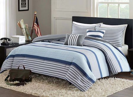 Blue Grey White Striped Boy Bedding Twin Xl Full Queen Comforter Or Quilt Set With Pillows
