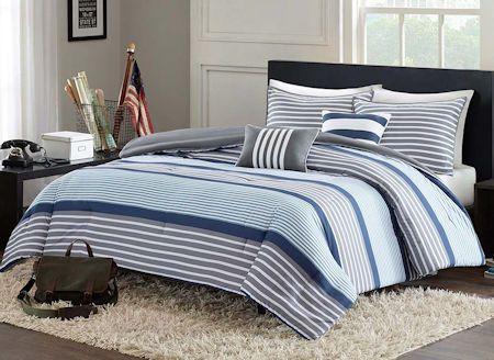 Blue Grey White Striped Teen Boy Bedding Twin XL Full/Queen ... : blue gray quilt - Adamdwight.com