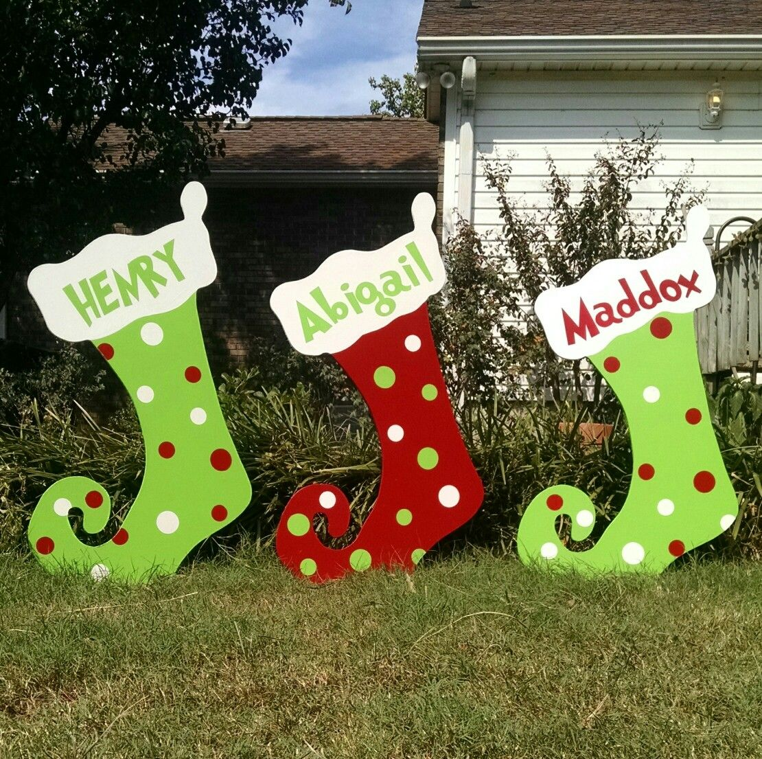 Custom Personalized Christmas Polka Dot Yard Art Decoration Stockings Grinch Santa Chris Outdoor Christmas Diy Christmas Yard Art Christmas Yard Decorations