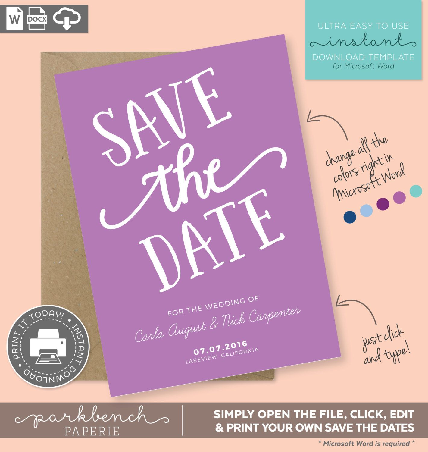 save the date printable template for microsoft word carla style orchid diy editable