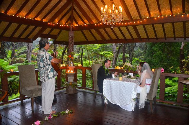 Guitar Player At Intimate Dinner After Wedding In Rainforest Pavilion Mahinui Hawaii