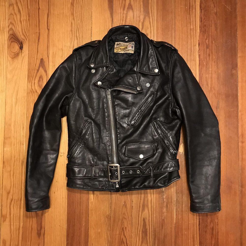 Vintage Schott Perfecto 618 Leather Jacket Size 38 Rocker Biker