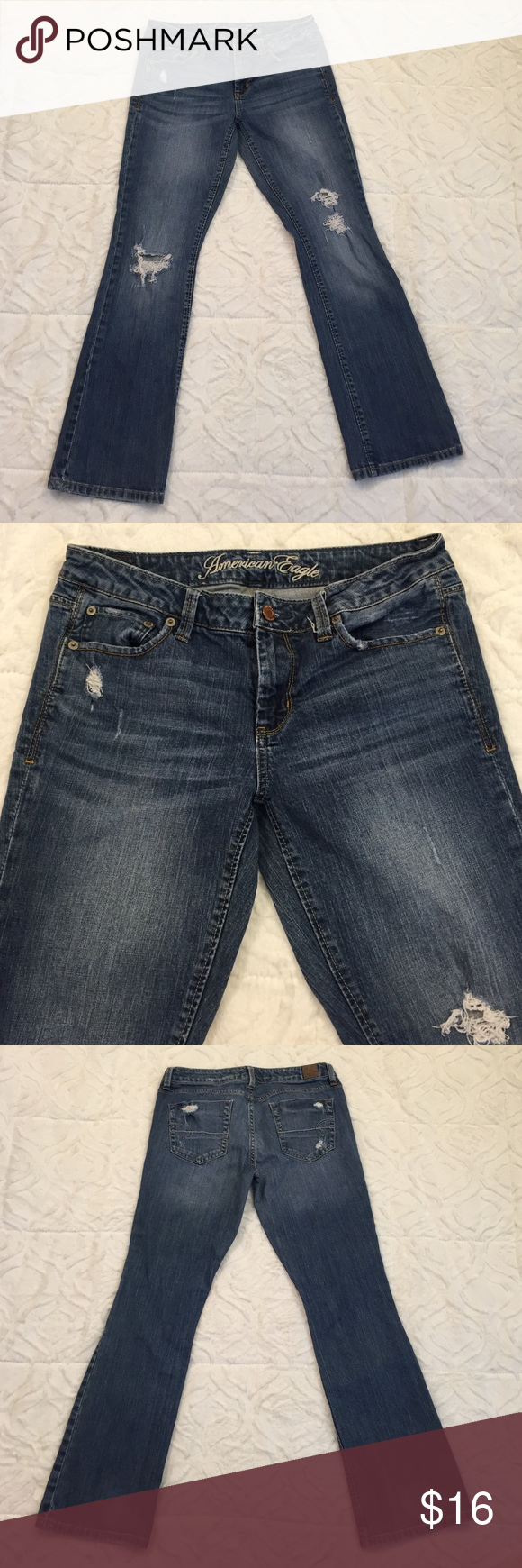 American Eagle Distressed Blue Jeans Distressed jeans in great condition! American Eagle Outfitters Jeans