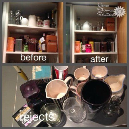 Before and after photos from decluttering kitchen cabinet holding vases, as well as coffee and tea {featured on Home Storage Solutions 101}