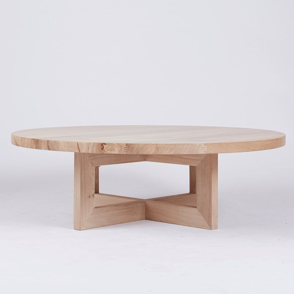Designer Bondi Round Oak Coffee Table - Solid Timber Accent Tables ...
