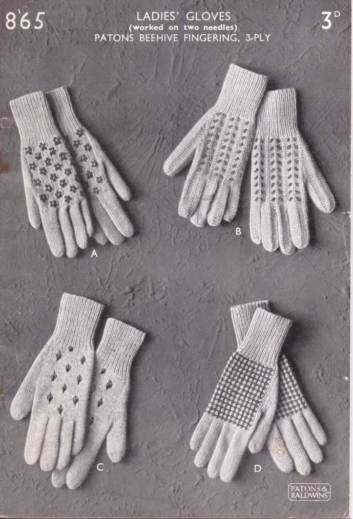Ladies Gloves worked on two needles from 1940s  Patons 865  free glo  Ladies Gloves worked on two needles from 1940s  Patons 865  free glove knitting pattern  Vintage Kni...