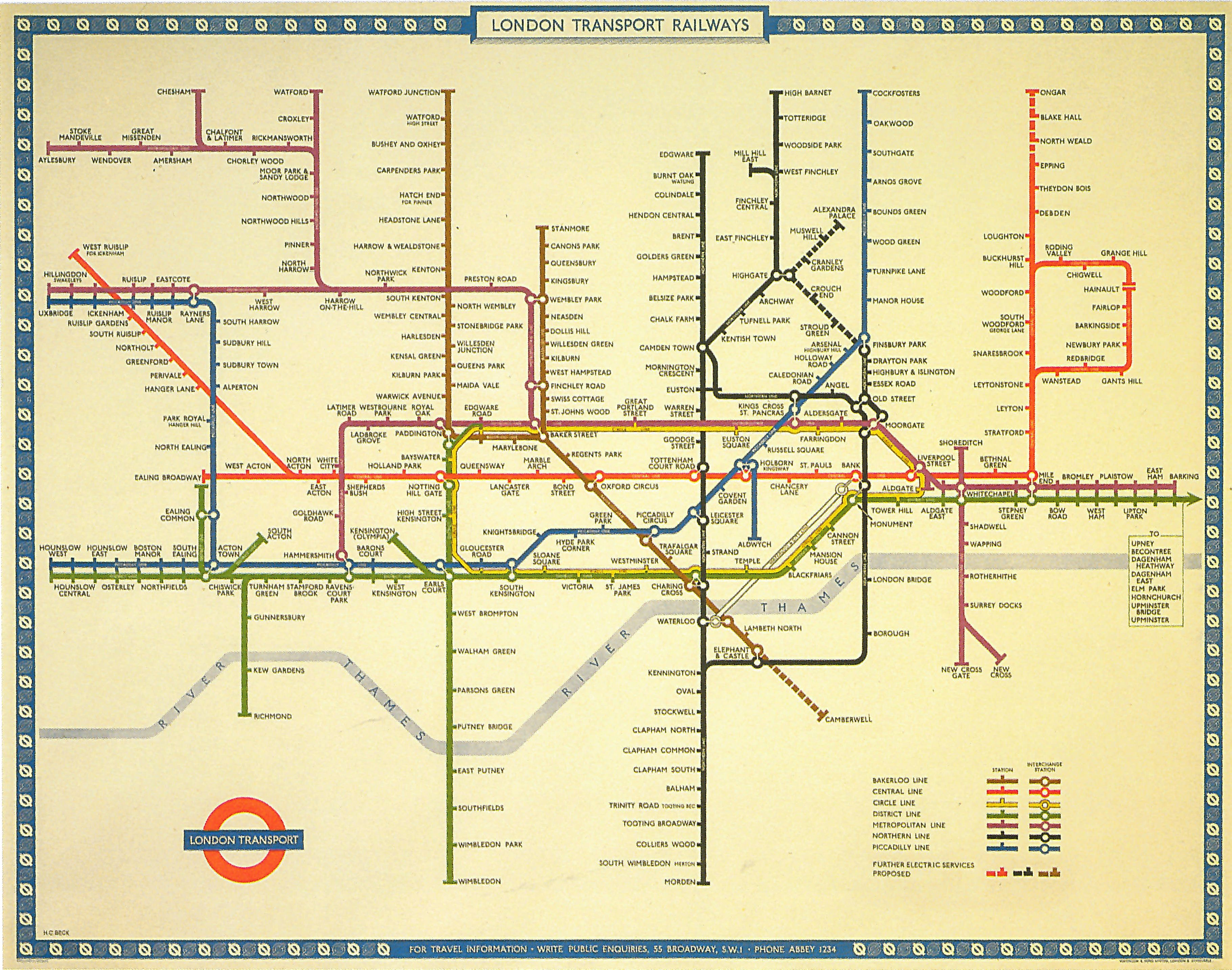 London Tube Map 1950 w proposed extension to Camberwell None of