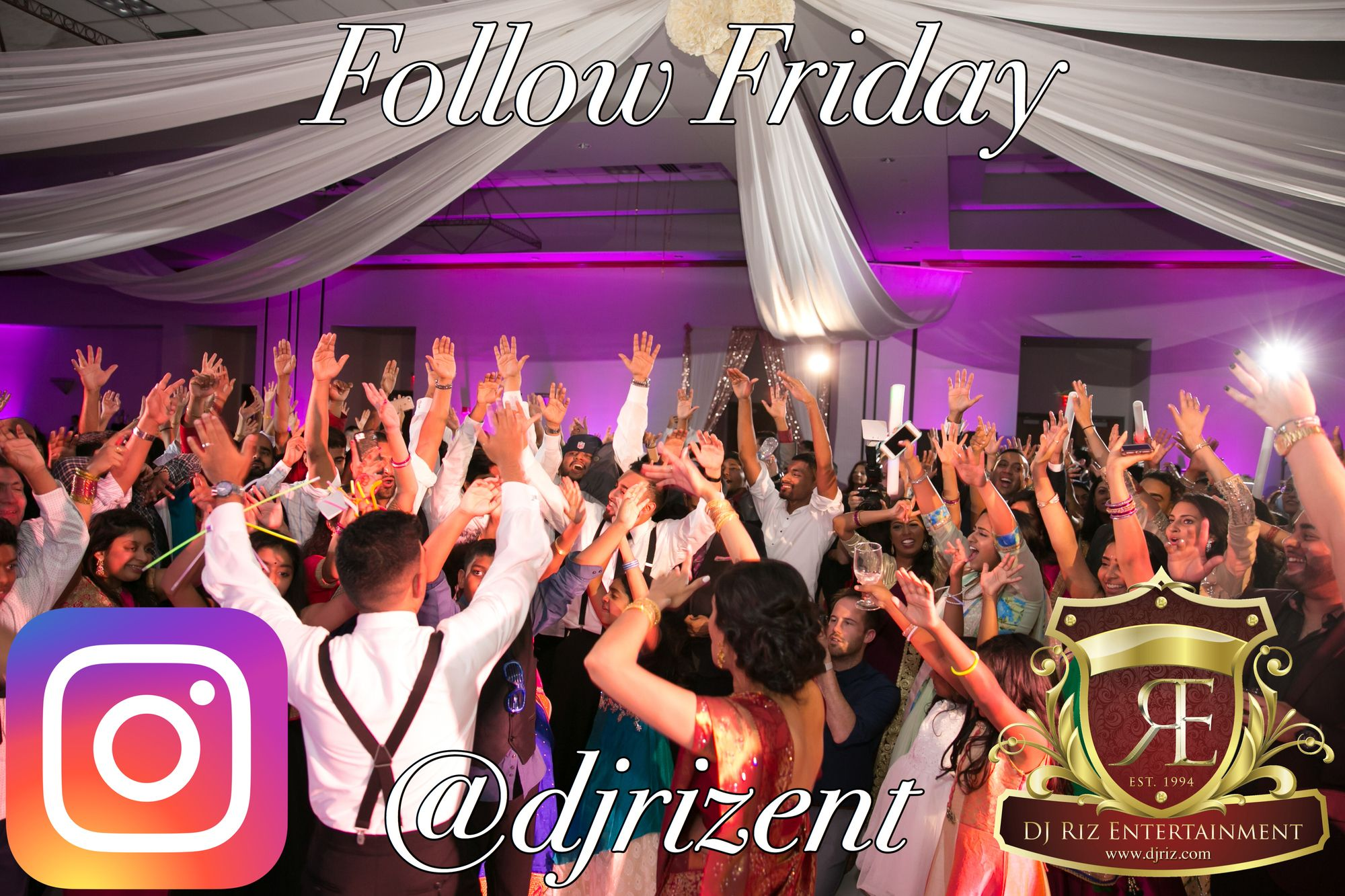 The team thrives on showing all future couples through our social media how they can make their weddings epic. Hit the follow button on Instagram to stay current with all new wedding trends!  Tag a couple that's engaged. 🙌 Instagram: @djrizent 