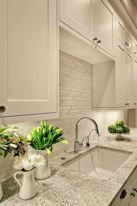 white dove kashmir granite counter tops polished nickel modern faucet and vetro neutra listello sfalsato glass mosaic bianco tiles backsplash also room by inspiration series the kitchen black