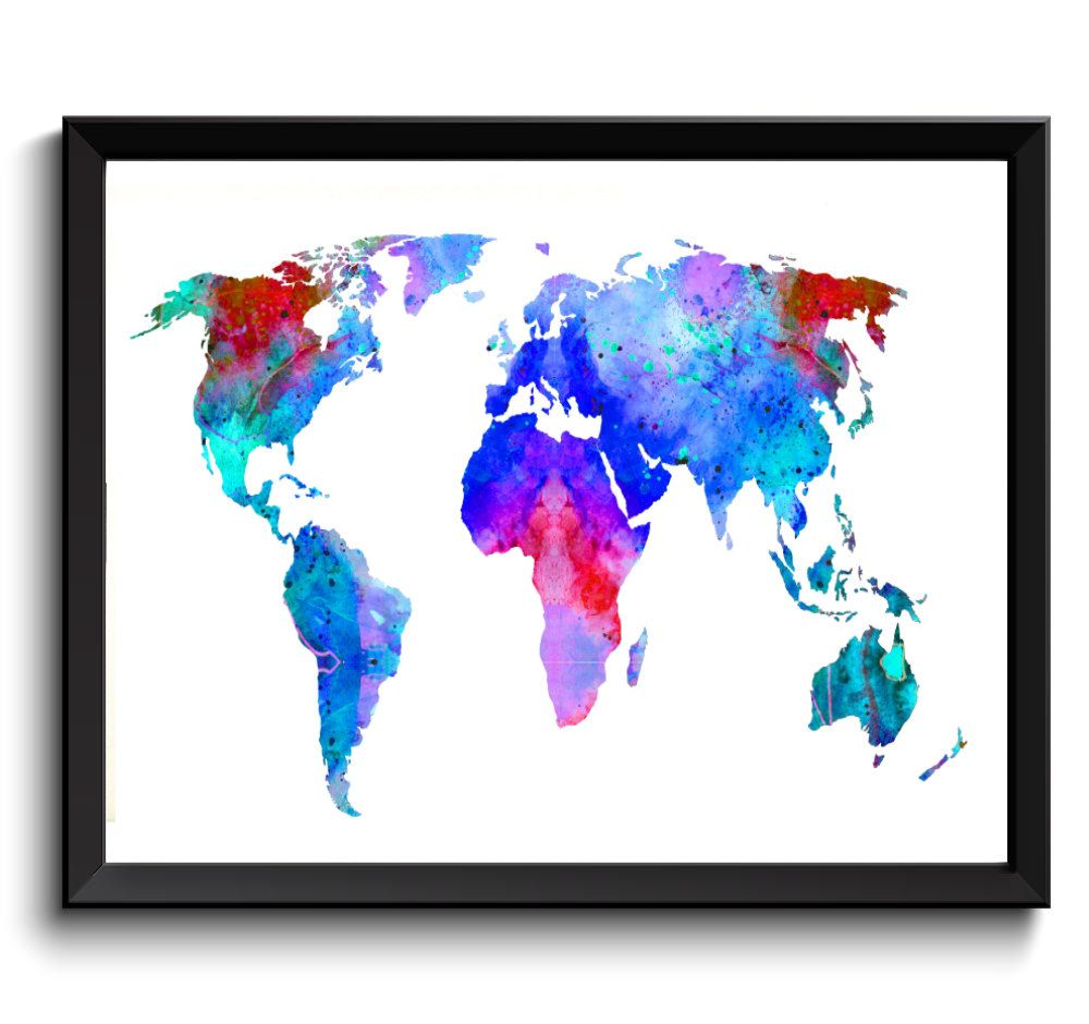 Blue World Map Watercolor Art Print   Printable World Map, Digital ...