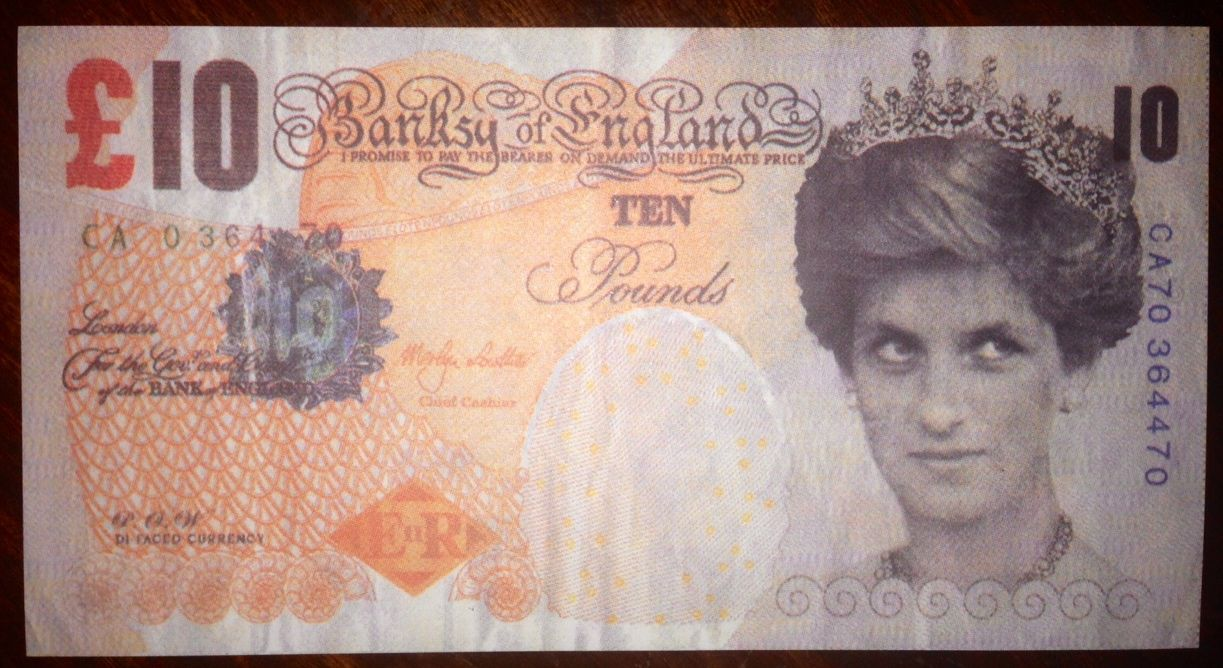 "Banksy ""Tenner"" - 10 Pound Note with Princess Diana and ..."