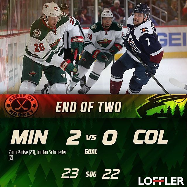 #mnwild takes a 2-0 lead after two periods against the #avs