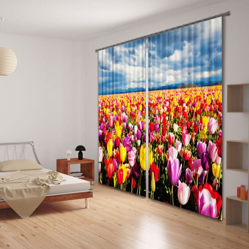 3D Printing Window Curtains Rare Beautiful Flowers Pattern Blockout Draps Fabric
