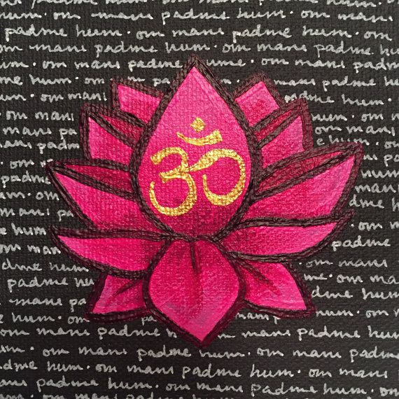 6a2e8718e Pink lotus, painting, om mani padme hum, mantra, original art | my ...