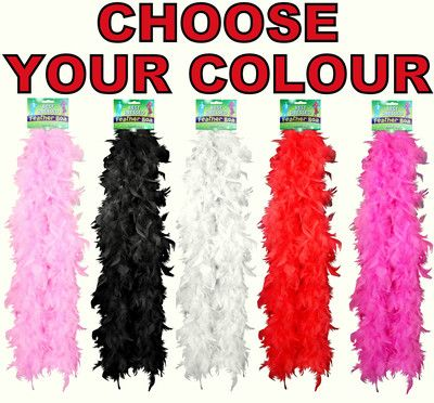 FEATHER BOA QUALITY RED WHITE PINK BLACK BLACK N WHITE
