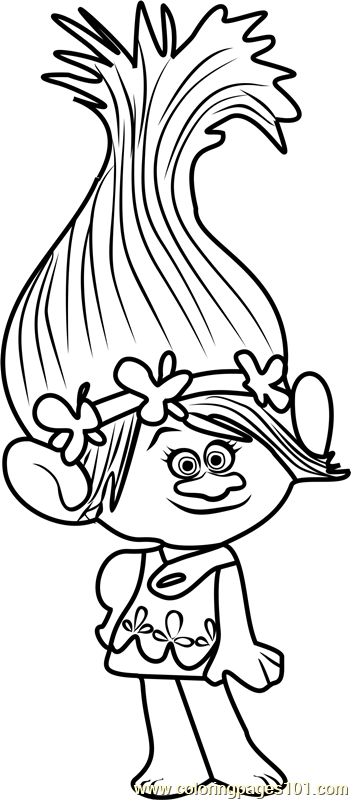 Princess Poppy from Trolls Coloring Page coloring pages