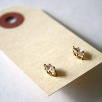 Marquise CZ Stud Earrings - Vintage Deadstock