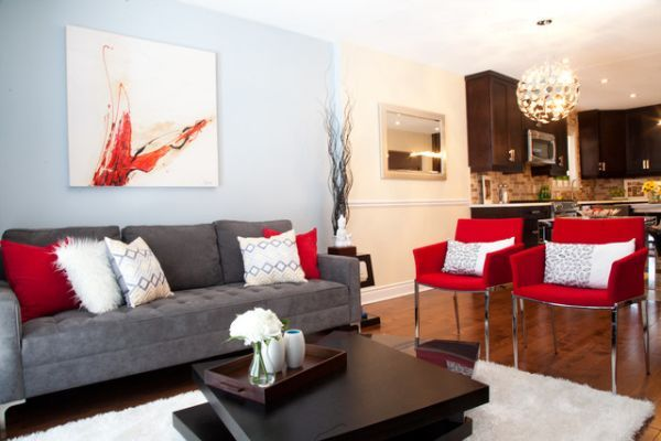 Red Accent Decor Contemporary Living Room Living Room Red Black Living Room Brown Living Room
