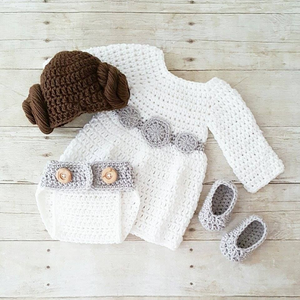00563450799 Crochet Baby Princess Leia Dress Hat Wig Hair Diaper Cover Shoes Star Wars  Costume Infant Newborn Baby Photography Photo Prop Shower Gift