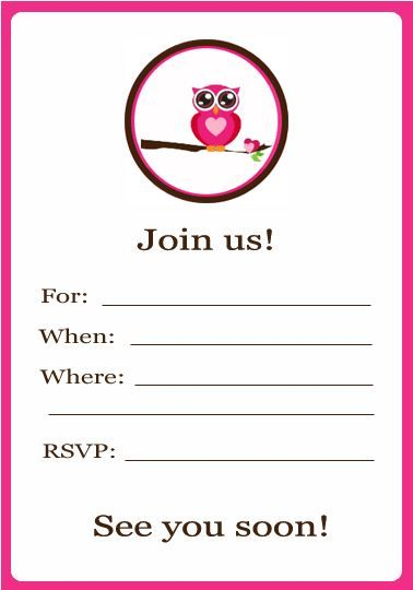 Owl Party Invitation Printable