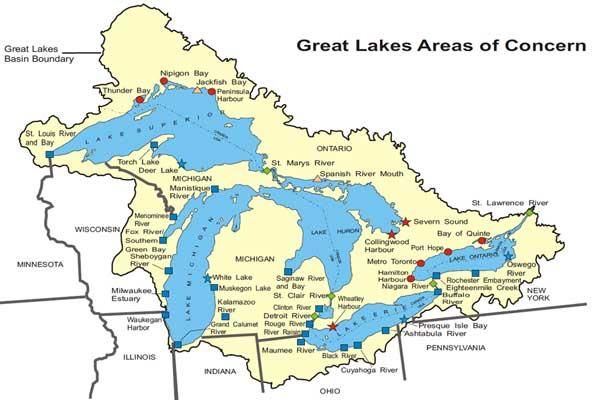 map of us with great lakes Map Showing Location And Status Of All Us And Canadian Great Lakes map of us with great lakes