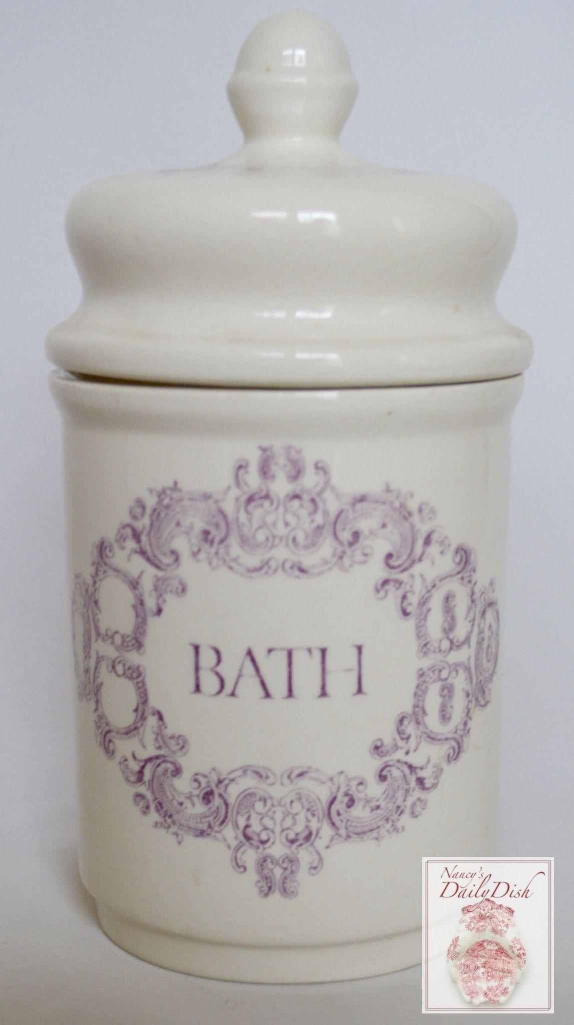 Vintage English Transferware Purple Lavender Victorian Scroll Bath