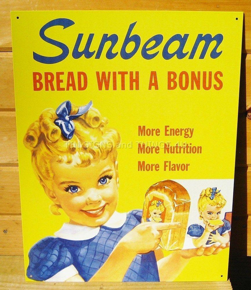 Retro Sunbeam Bread ad metal TIN SIGN vtg kitchen wall decor cute ...
