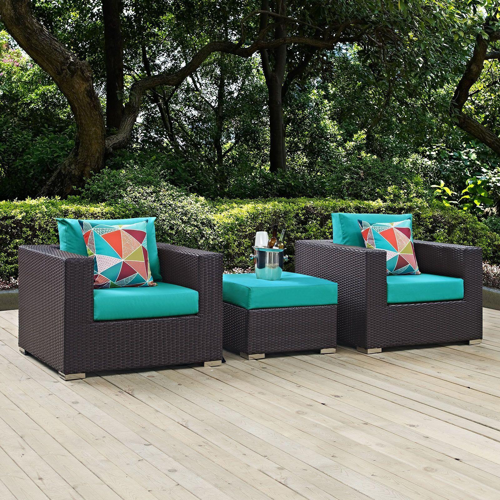 Modway Convene 3 Piece Outdoor Patio Sofa Set Espresso Beige f