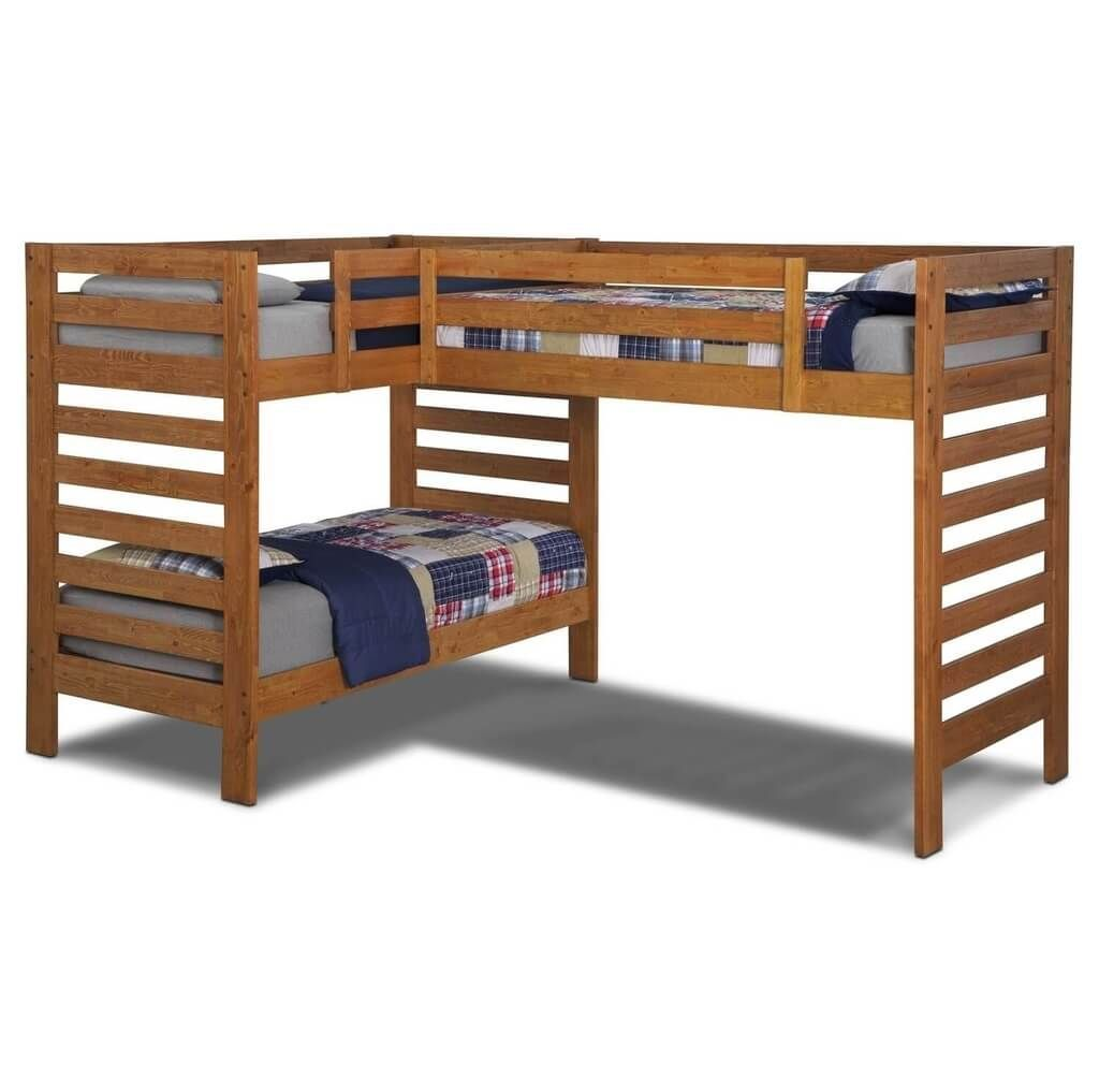 Wooden loft bed with desk   Interesting L Shaped Bunk Beds Design Ideas Youull Love  Double