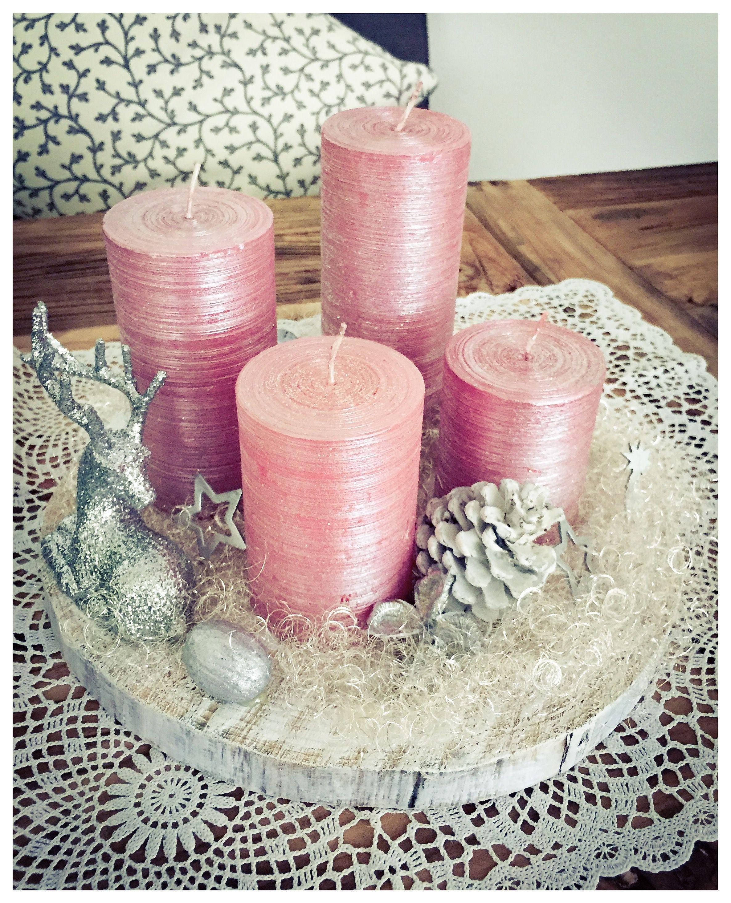 Advent Adventskranz Weihnachten Kerzen Sabby Chic Basteln Holzscheiben Rosa Weiss Chritmas Basteln Gescha Weihnachtsdeko Rosa Adventskranz Holz Weihnachtsliebe