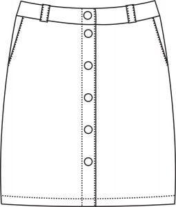 Katrine Nederdel str. 36-60 Lav taljet nederdel med knapper. Sværhedsgrad 2 Størrelse: 36 (38) 40 (42) 44 (46) +46 (+48) +50 (+52) +54 (+56) +58 (+60)  Materialer: # 115 (115) 180 (180) 190 (190) 195 (195) 195 (200) 200 (200) 200 (200) cm fast stof, stofbredde 140 cm. # 5 knapper # 50 (50) 50 (60) 60 (60) 70 (75) 75 (75) 75 (80) 80 (80) cm vlies, stofbredde 90 cm. # Stabilbånd til linningen   - stof2000.dk