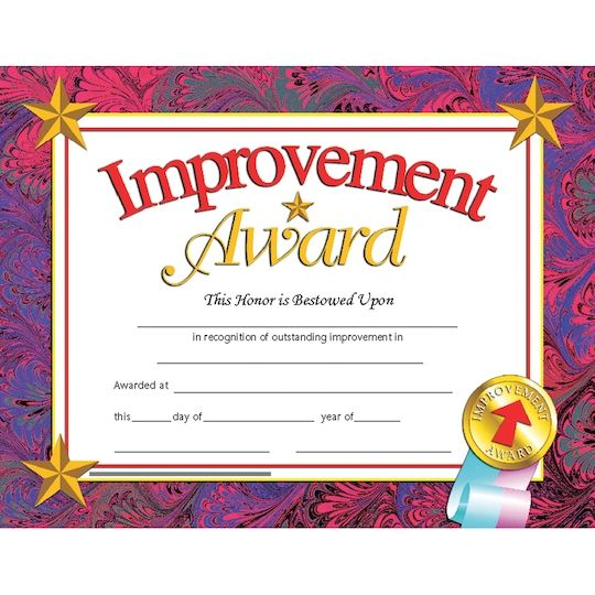 """Find Flipside Products 8.5"""" x 11 Improvement Award Certificate, 6 Pack Bundle at Michaels. Beautiful, authentically designed Hayes certificates printed in full color on high quality paper, will become a keepsake from that special day for years to come. Great for all academic ages! Beautiful, authentically designed Hayes certificates printed in full color on high quality paper, will become a keepsake from that special day for years to come. Downloadable templates available to personalize or can b"""