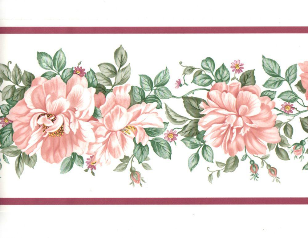 Pink Peach Rose Vine Garland Lavender Purple Band Wall Paper Border Eh99870 Ebay Floral Wallpaper Border Peach Roses Rose Vines