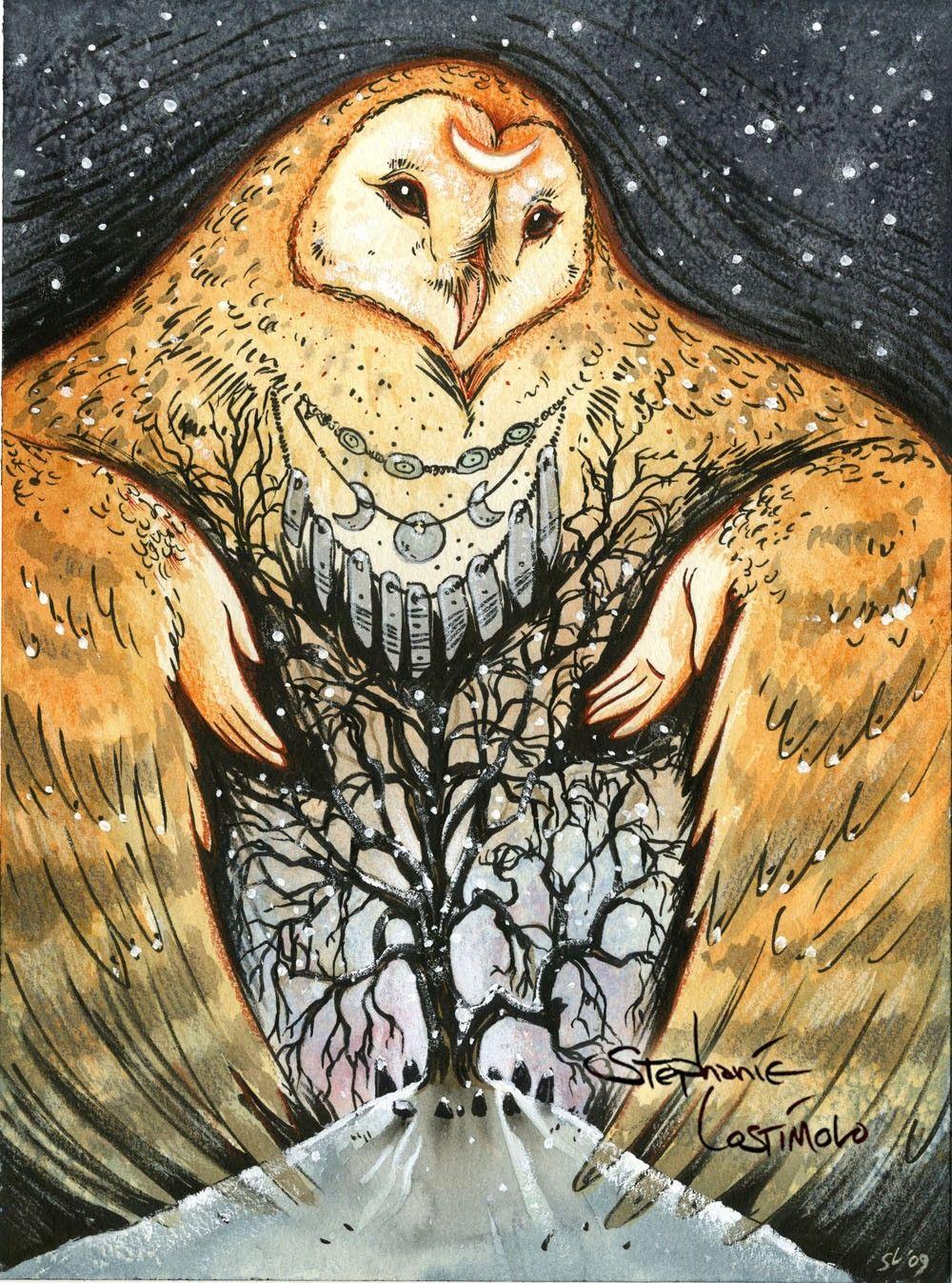 Owl Mother - Original Barn Owl Winter Goddess Painting ...