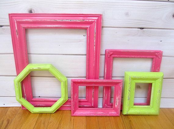 Frame Collection Hot Pink Lime Green Vintage Ornate, Wedding Decor ...