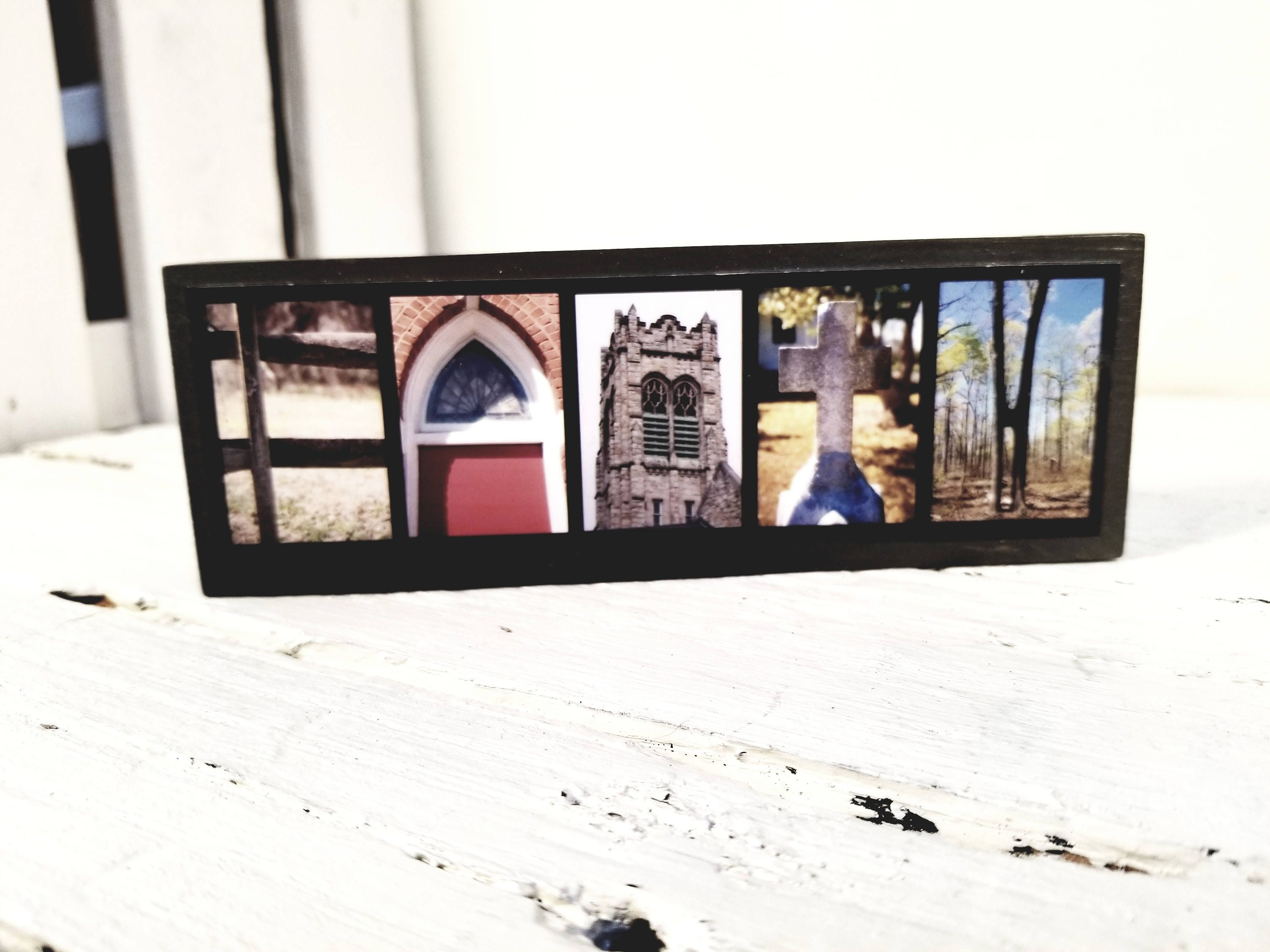 Faith Mini Wood Photo Letter Sign   Alphabet Photography   Photo Letter    Faith Wood Sign