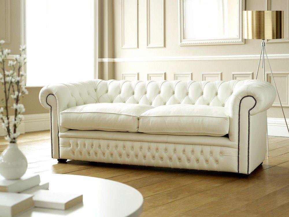 White Leather Chesterfield Sofa Koltuklar