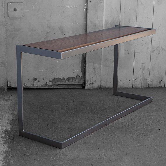 Suspended Wood And Metal Desk Modern Industrial Design
