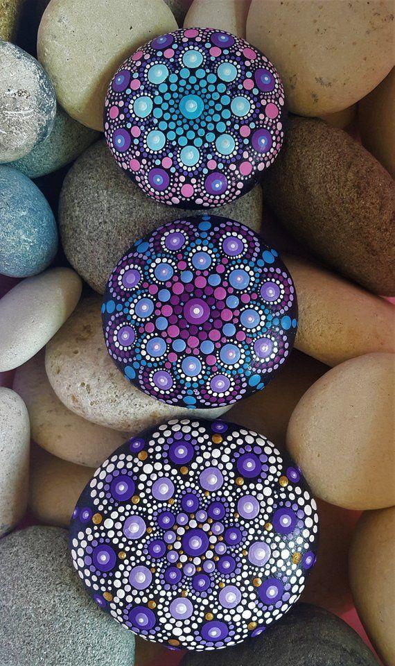Photo of Mandala Stone Painted Jewelry Mandala Stones Mint Dot Art Painted Stone Rock Pai …