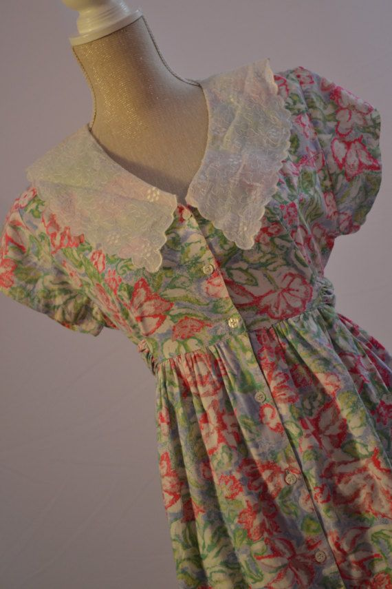Laura Ashley style dress. 1980s floral with by VintageVanityGB