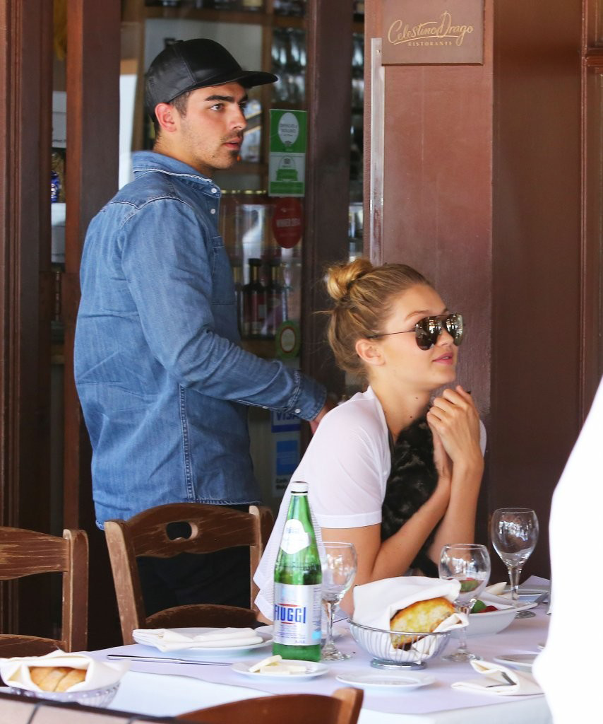 6/15/15 - Gigi Hadid + Joe Jonas out for lunch in Beverly Hills.
