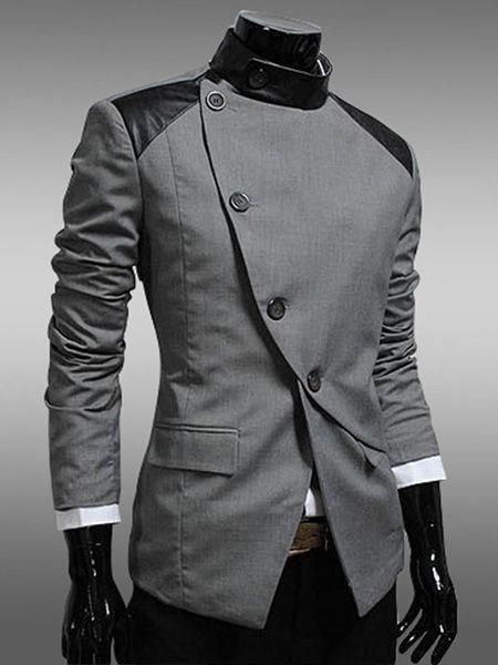 Black Men's Jacket Long Sleeve Oblique Button Patchwork Casual ...
