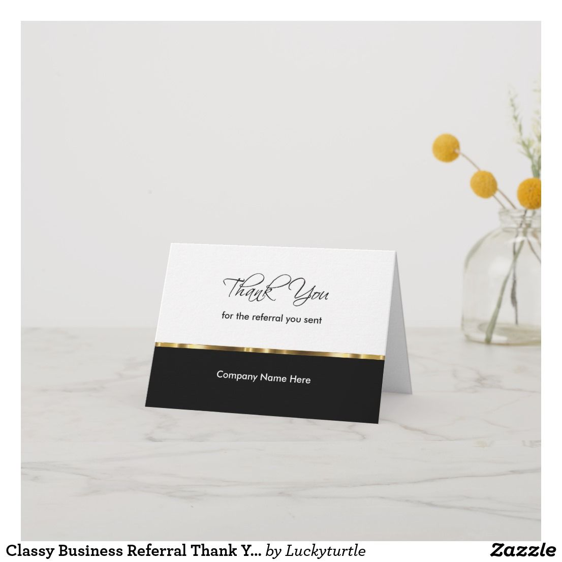Classy Business Referral Thank You Cards Zazzle Com Thank You Cards Thank You Customers Custom Thank You Cards