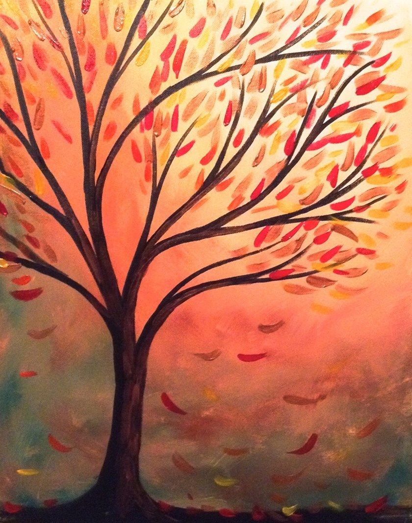 Autumn Leaves Tree Branches Beginner painting. #PaintOlathe ...