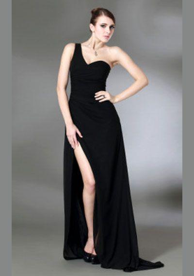 One Shoulder Chiffon Elastic Sexy Prom Dress