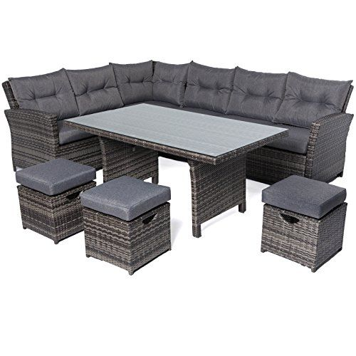 Mayfair Premium Rattan  Seater Lounge  Dining High Back Sofa Set