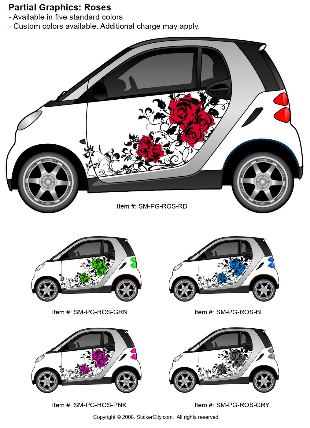 Smart car vinyl graphic sticker roses stickercity com custom car paint jobs