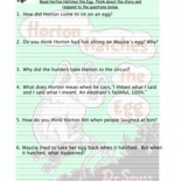 The Lorax Reading Comprehension Worksheet Dr Seuss