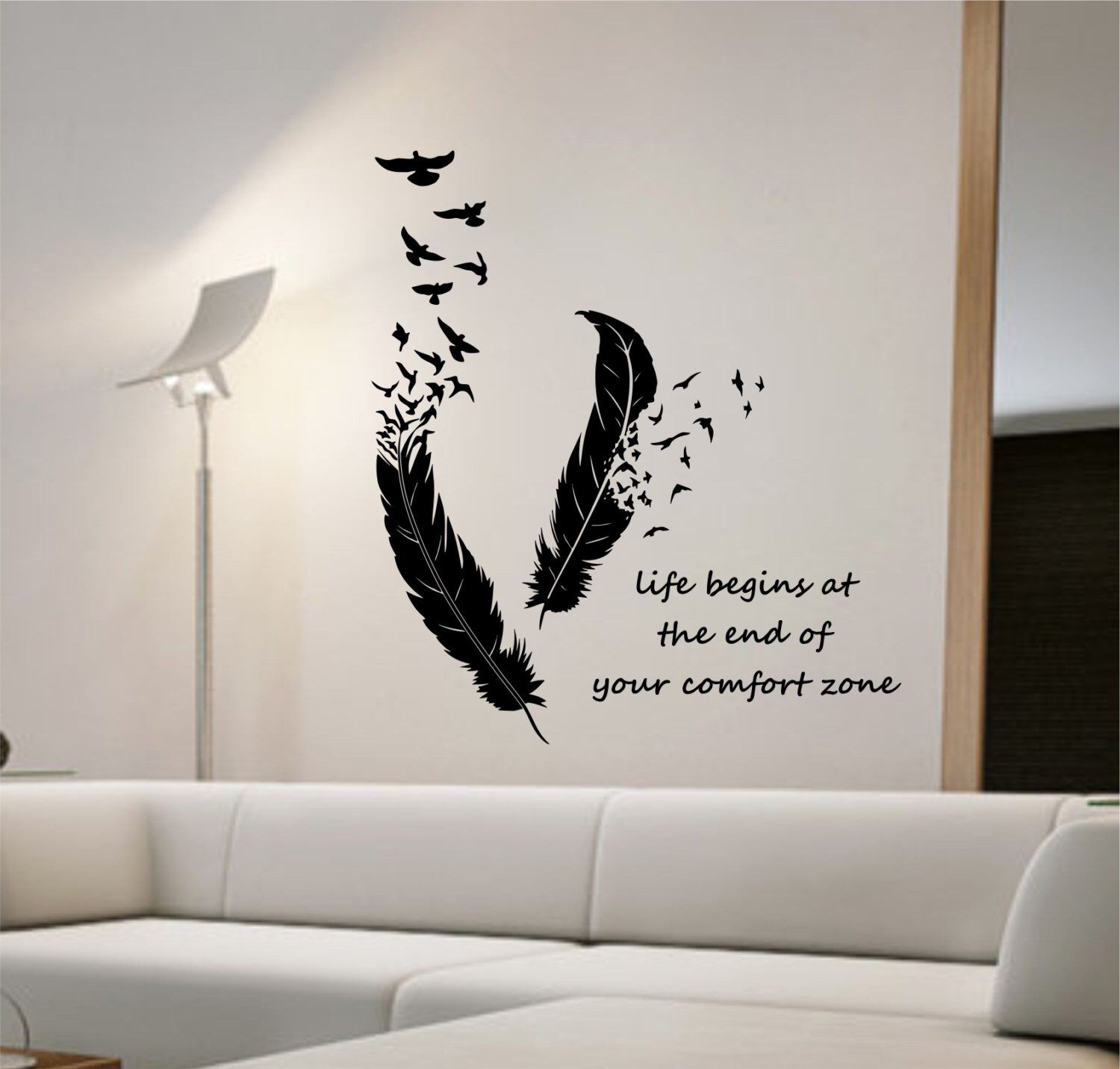 Feathers Turning Into Birds Vinyl Wall Decal Sticker Art Decor Bedroom Design Mural Animals Home Decor Living Room Life Begins Quote Wall Decals Living Room Wall Stickers Bedroom Wall Stickers Living